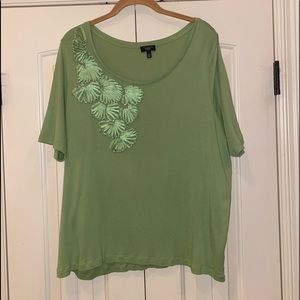 Talbots Green Tee with Ribbon Detail